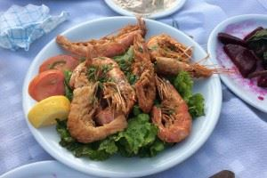 Traditionally cooked Greek Prawns