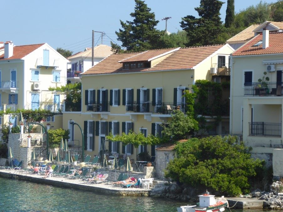 Waterfront Apartments, Fiscardo. Apartment No.3 is at the far right.