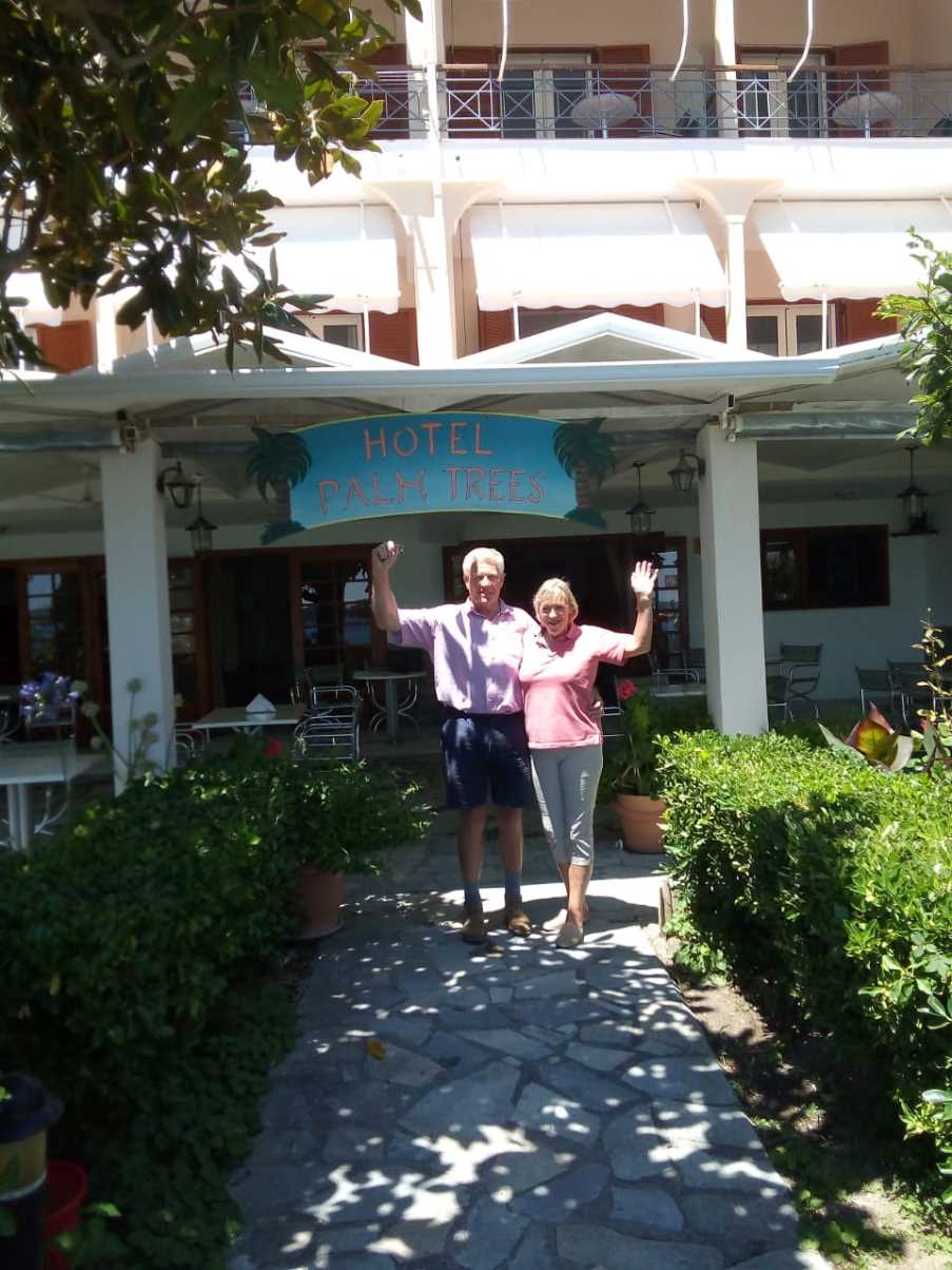 First guests at the Palm Trees Hotel, Lefkas