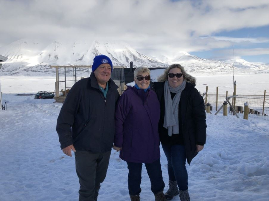 Michelle with her family in Svalbard