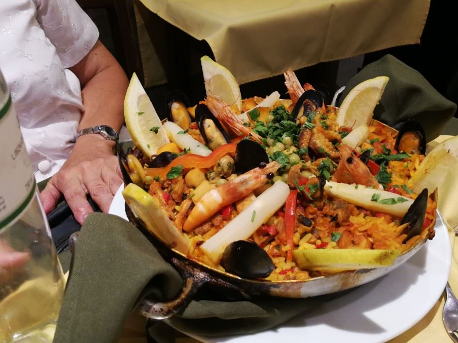 Seafood paella at a port market in Montevideo