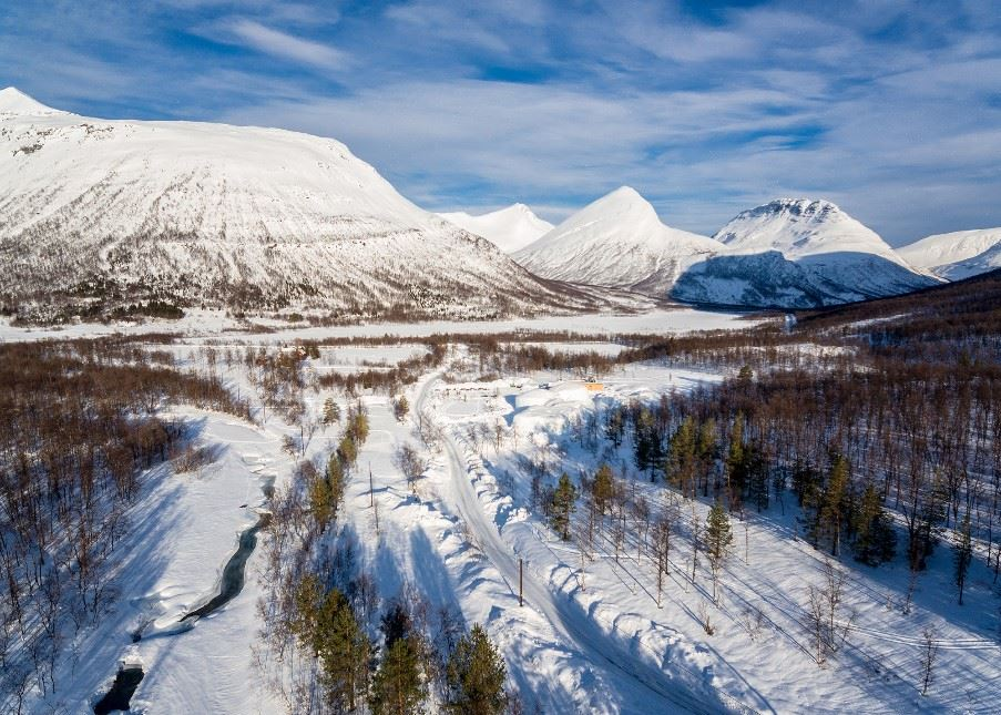 Landscape surrounding the Tromso Ice Domes, Overbygd, Northern Norway