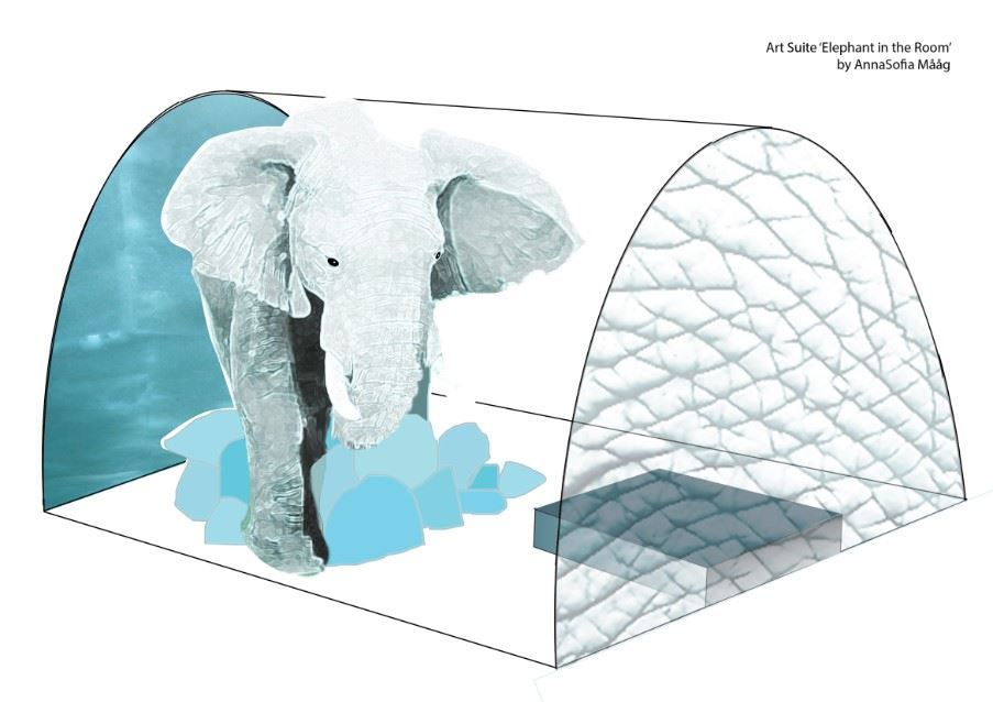 Elephant in the room, ICEHOTEL by Anna Sofia Maa