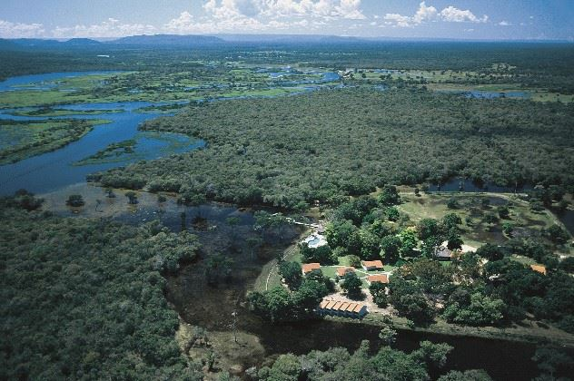 Aerial view, Pousada do Rio Mutum, The Pantanal, Brazil