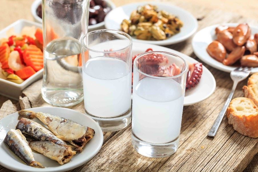 Local ouzo and traditional Greek meze