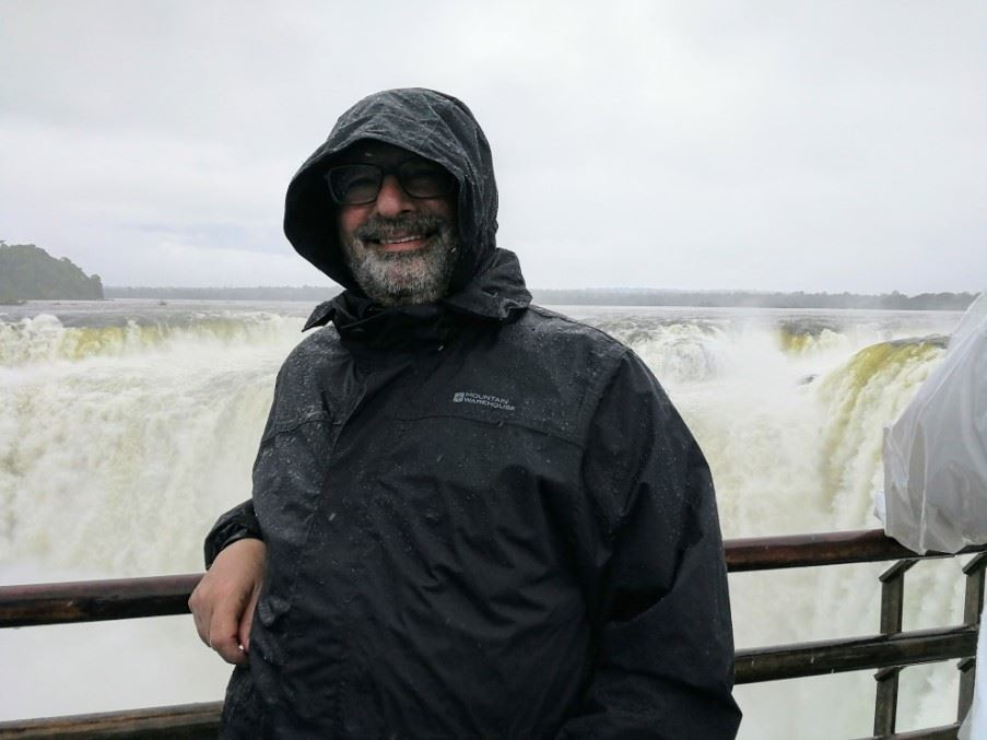 Trying to keep dry at Devil's Throat, Iguasu Falls