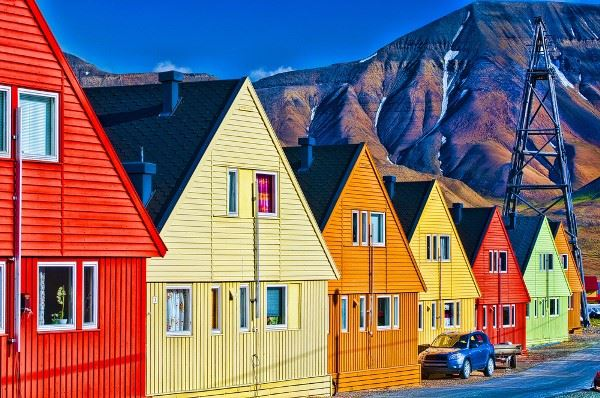Row of colorful homes in Longyearbyen, Svalbard