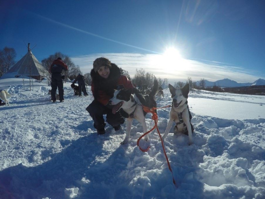 Cristiana with husky dogs in Tromsø, Northern Norway