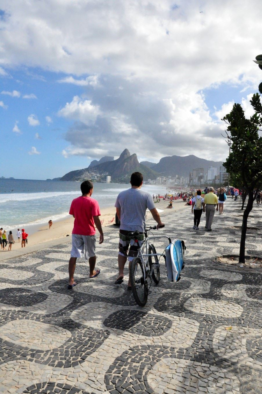 Walking down the promenade of Copacabana beach
