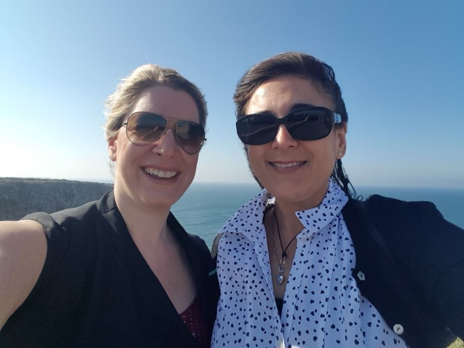 Rebecca and Yasmin in the most westerly point in Europe, Sagres