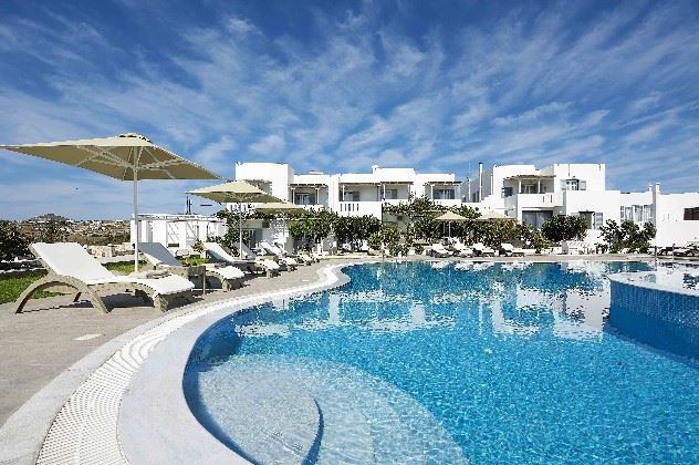 And outside view of the pool side at the Santa Maria Village, Milos, Greece