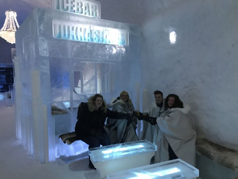 Tracy and colleagues in the Ice Bar