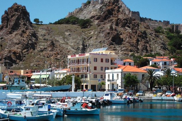 The Lemnos Hotel is below the castle (yellow building)
