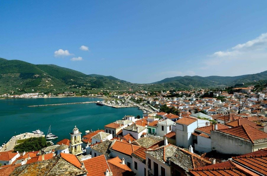 View of Skopelos Town, Skopelos, Greece