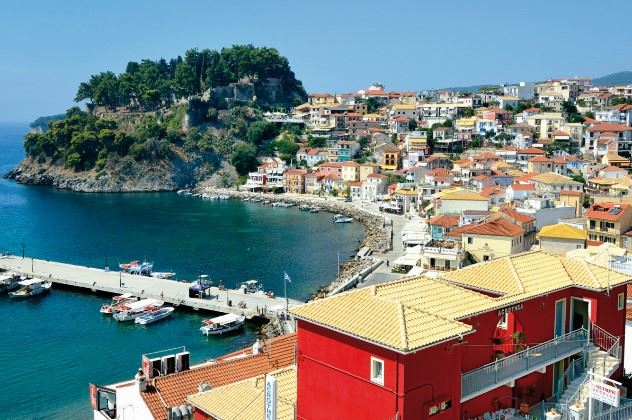 Acrothea Hotel (red buildings), Parga, Greece