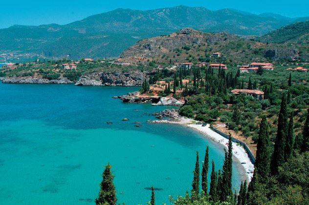 Beach and coastline by Kalamitsi Hotel,  South Peloponnese