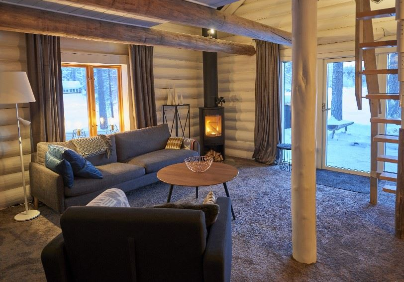 Living room, Timber Cutters Cabin, Arctic Retreat, Swedish Lapland