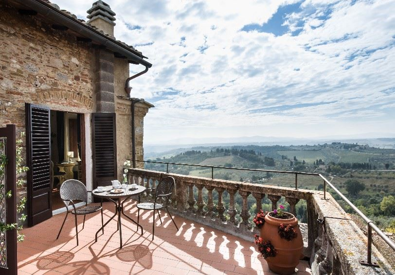 Comfort Room with balcony and valley view, La Cisterna Hotel, San Gimignano, Tuscany