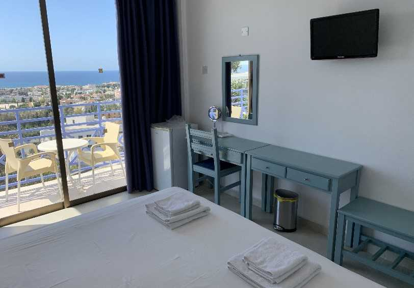 Sea view room with balcony, Axiothea Hotel, Paphos, Cyprus