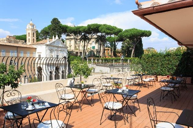 St Isodore's College gardens - view from the terrace of the Degli Artisti Hotel, Rome, Italy