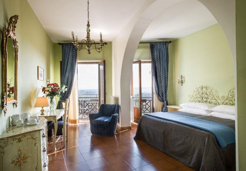 Standard Room with balcony/terrace and panoramic view, La Cisterna Hotel, San Gimignano, Tuscany